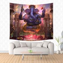 Ganesha hinduizmu pan wiszące gobeliny spersonalizowane gobelin dekoracyjne ściany wiszące koc wykładzina ścienna mata do jogi tanie tanio Nowoczesne Włókniny Scenic 100 poliester Drukowane Prostokąt