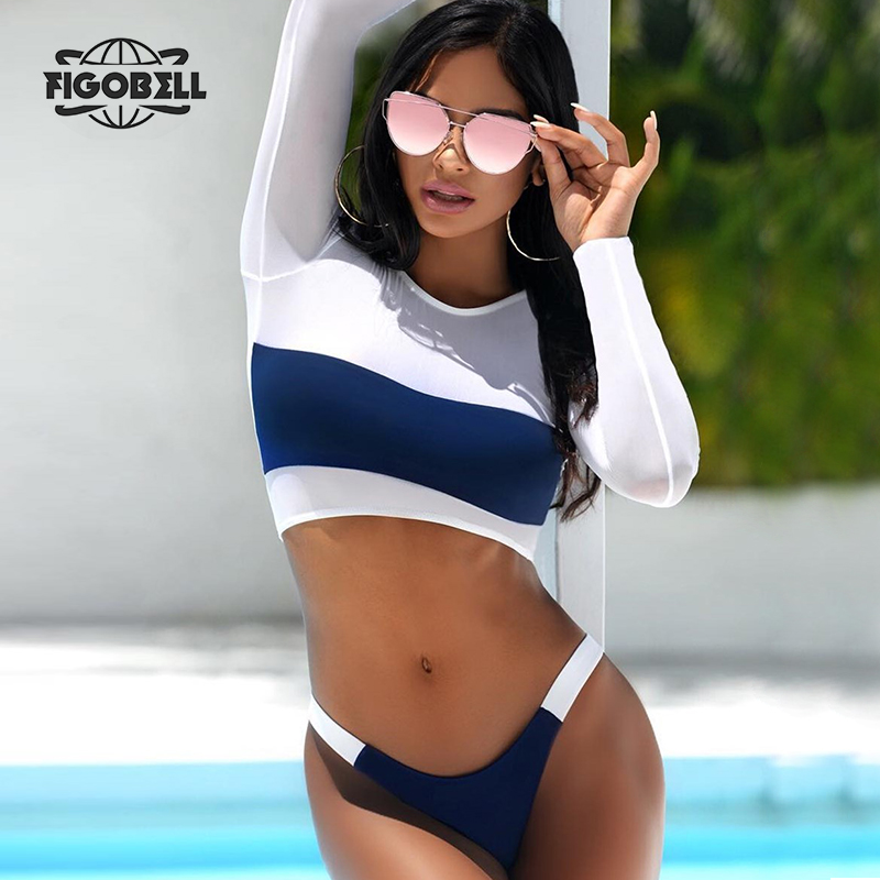 Newest 2018 Ultra-Thin Perspective Women Two Piece Swimsuit Long Sleeve Swimwear Low-Waist Bathing Suit Two-piece Swim Suits