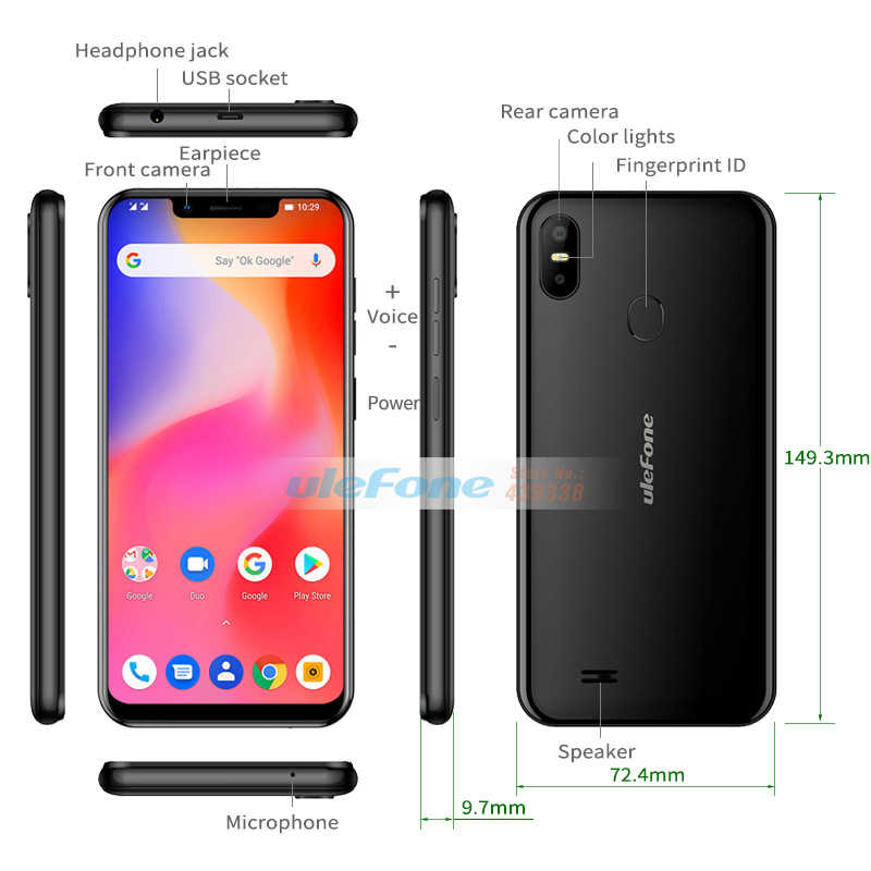 Ulefone S10 Pro Mobile Phone 5 7 HD+ 19:9 MT6739WA Quad Core 2GB RAM 16GB  ROM 13MP+5MP Face Unlock Android 8 1 4G Smartphone