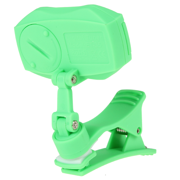 Green Multifunctional Colorful LCD Display Clip Sound Tuner for Chromatic/ Guitar/ Bass/ Violin/ Ukulele.