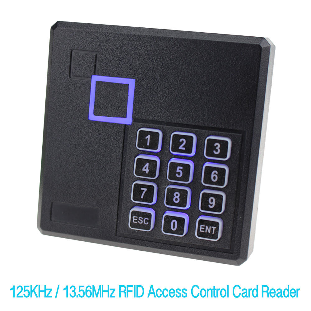 OBO HANDS RFID Reader 125KHz/13.56MHz Access Control Card Reader IP65 Waterproof EM/MF Keypad with LED For Home Security System for home security wg26 34 em id card reader 125khz door access control system with keypad for rfid card waterproof f1710a
