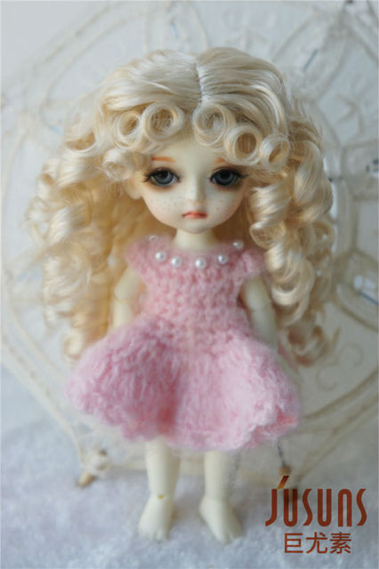 JD031 1/8 Long curly  wig  synthetic Mohair  wig for BJD doll Lati yellow doll wigs