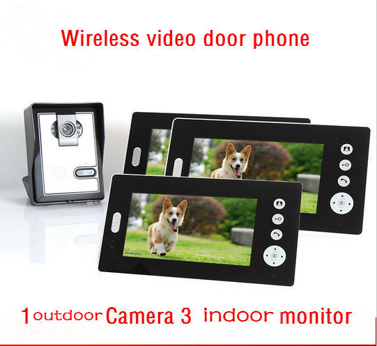 YobangSecurity 7inch Wireless Video Door Phone Doorbell Video Entry Intercom System with Triple Receivers 1 Camera 3 Monitor 2 receivers 60 buzzers wireless restaurant buzzer caller table call calling button waiter pager system