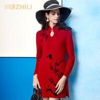 Новинка 2017 осенние и зимние высокого класса женская вязаный свитер ретро китайском стиле Cheongsam вышитые кашемира Длинный свитер