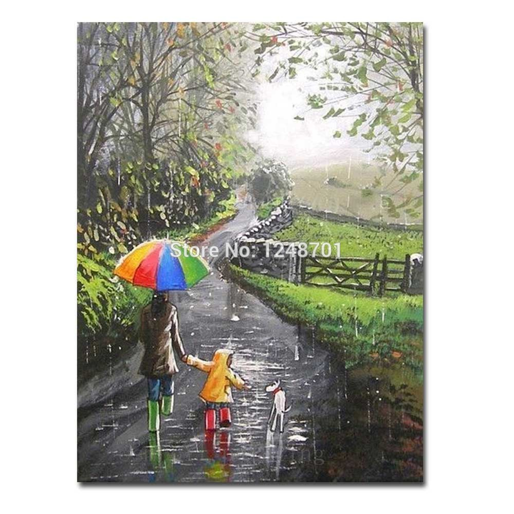 Handmade Abstract Rainy Umbrella Scenery Oil Painting On Canvas Mother Son with Dog Wall Picture For Living Room Wall Art DecorHandmade Abstract Rainy Umbrella Scenery Oil Painting On Canvas Mother Son with Dog Wall Picture For Living Room Wall Art Decor