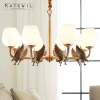Европейский меди птица подвесной светильник стекло абажур гостиная ресторан спальня свет