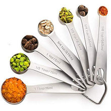 Stainless measuring spoons set of 7  Tablespoon to 1/8 metal Teaspoon set Mini stainless measure spoons with Ring Holder Bonus