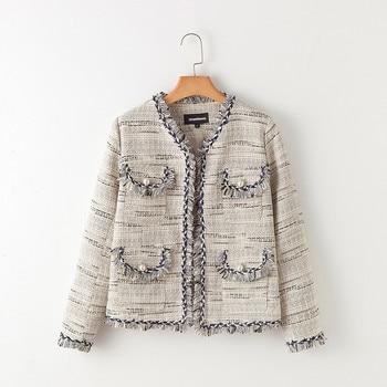 Urumbassa office lady O neck coat 2018 spring autumn tassels tweed short coat Fashion women jackets S216