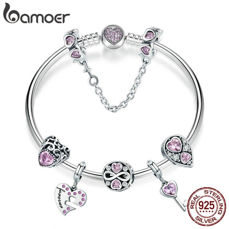 BAMOER 100 925 Sterling Silver Romantic Love Pink CZ Infinity Girlfriend Bracelets Bangles for Women Silver