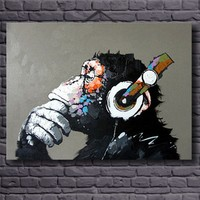 Home Decorative Art Hand Painted Monkey Oil Painting On Canvas Living Room Wall Paintings Thinking Orangutan