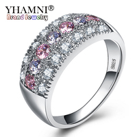 YHAMNI Original Real Solid 925 Silver Rings Luxury Fine Jewelry Multicolor Cubic Zircon Fashion Accessories Rings