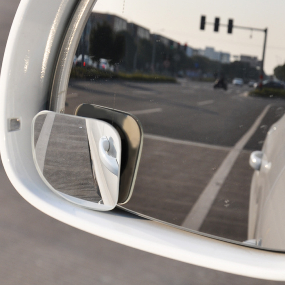 VODOOL 2pcs Clear Car Rear View Mirror 360 Rotating Adjustable Fixable Convex Blind Spot Mirror Parking Auto Motorcycle