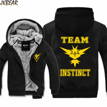 Faux Fur Lined Pokemon Go Team Instinct Zapdos Print Hoodies for Men and Women Fall Winter Warm Jacket Coats Plus Size M-3XL