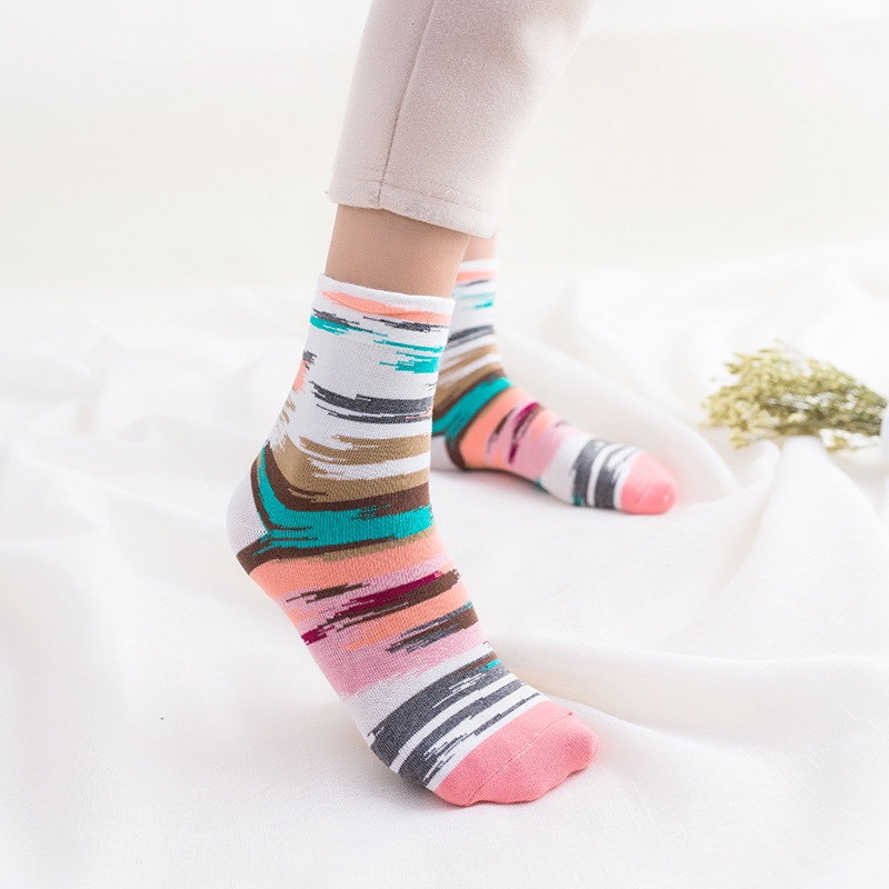 2019 Graffiti Fashion Sweet Tube Socks Candy Color Socks Cotton Women Colorful Stripes Women Socks Breathable College Wind Socks in Socks from Underwear Sleepwears