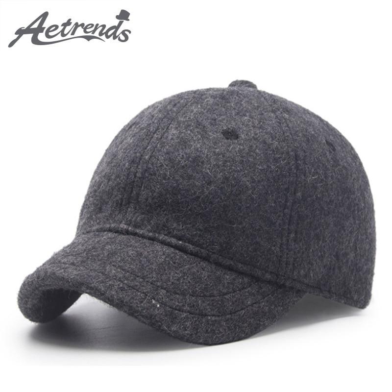 [AETRENDS] Winter Baseball Caps for Men Short Visor Black Wool Felt Cap Men Dad Hat Baseball Cap Russia Hat Z-6586