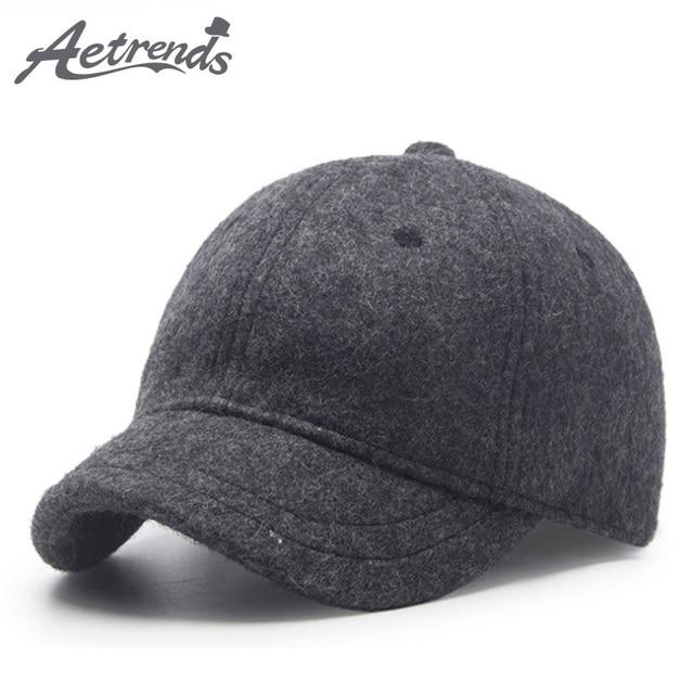 AETRENDS invierno gorras de béisbol para los hombres corto Visor gorro de  lana Negro hombres 98b083ddb52