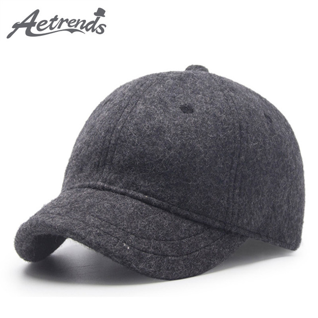 AETRENDS invierno gorras de béisbol para los hombres corto Visor gorro de  lana Negro hombres 7987c74e85ff