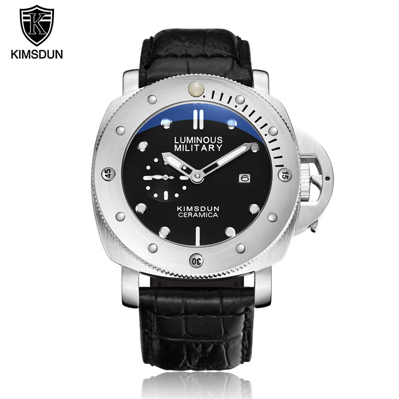 KIMSDUN Relogio Masculino Luminous Silver Black Leather