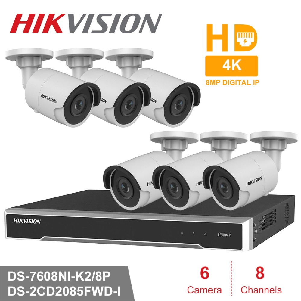 Hik 8CH HD POE NVR Kit 6pcs 8MP DS-2CD2085FWD-I CCTV Security System Bullet Outdoor IP Camera IR Night Vision Surveillance Set