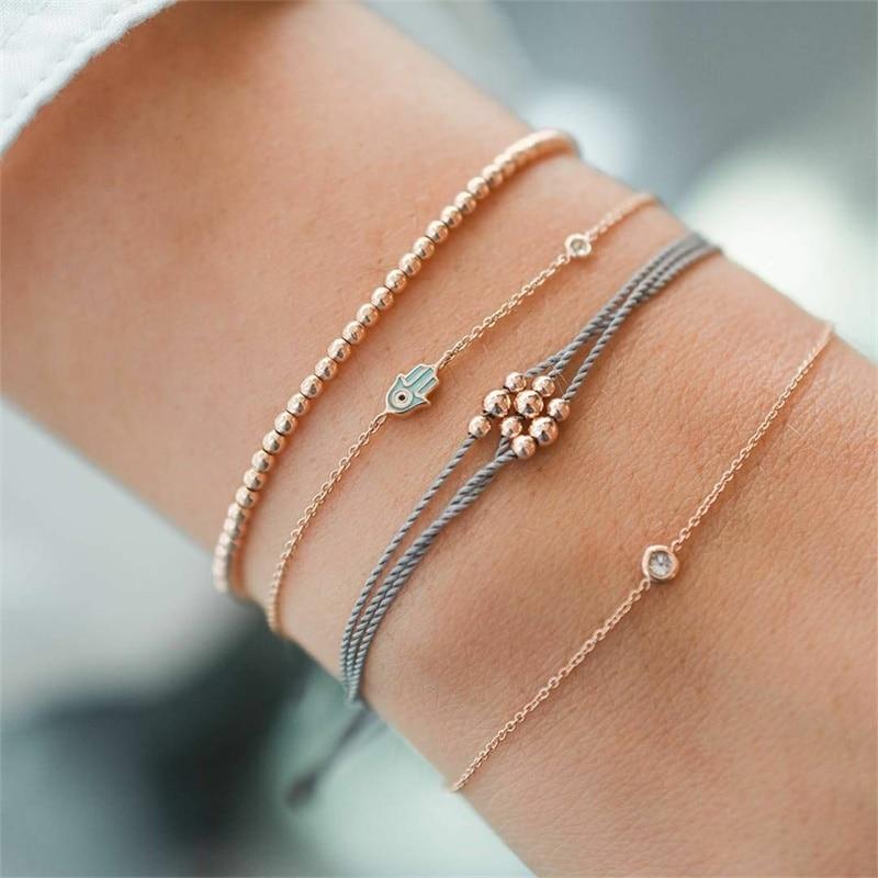 KISSWIFE 4Pcs/Set Fashion Women Charm Fashion Handmade Bead Chain Palm Women's Bracelet Combination 2019 New Jewelry Gift