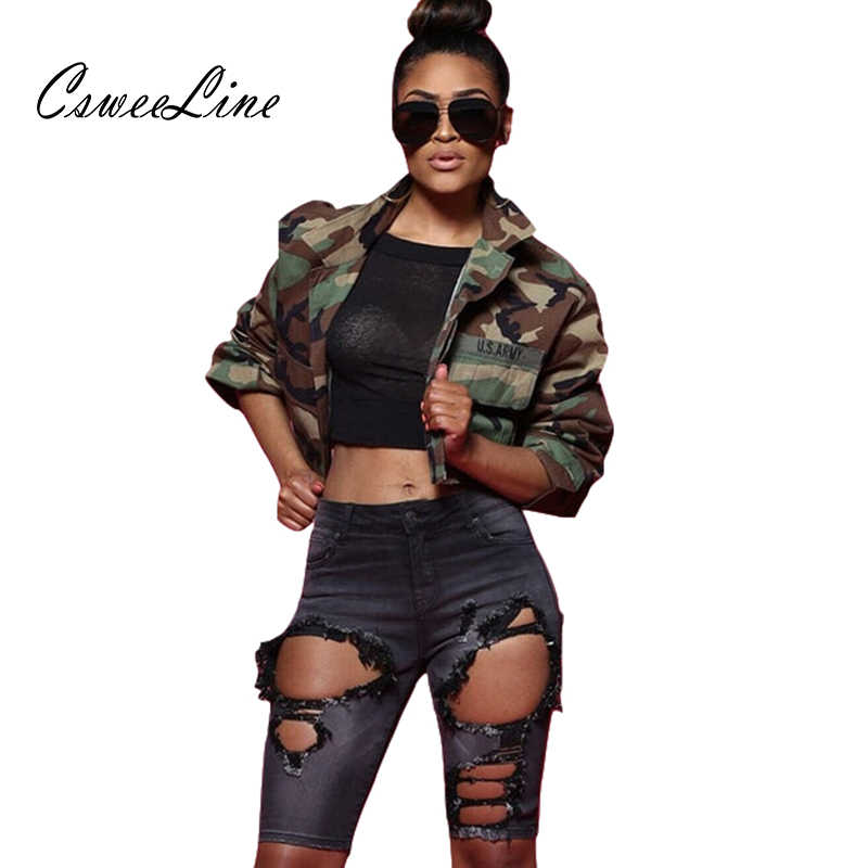 d8f73b1713cd4 Camo Crop Top Women Jacket Army Green Autumn Camouflage Cropped Jacket Sexy  Casual Plus Size Coats
