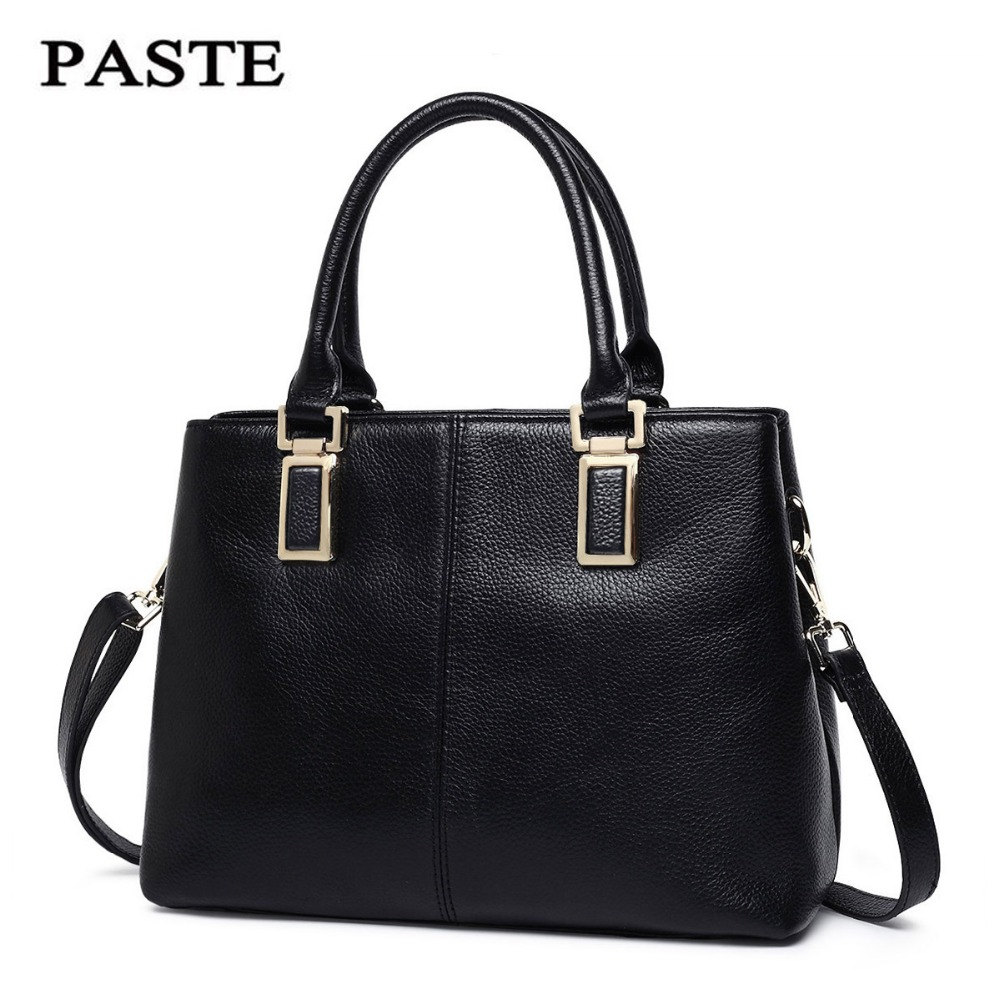 PASTE famous brand women handbag high quality genuine leather shoulder bags office ladies real cowhide skin totes bag messenger new genuine leather women bag messenger bags casual shoulder bags famous brand fashion designer handbag bucket women totes 2017
