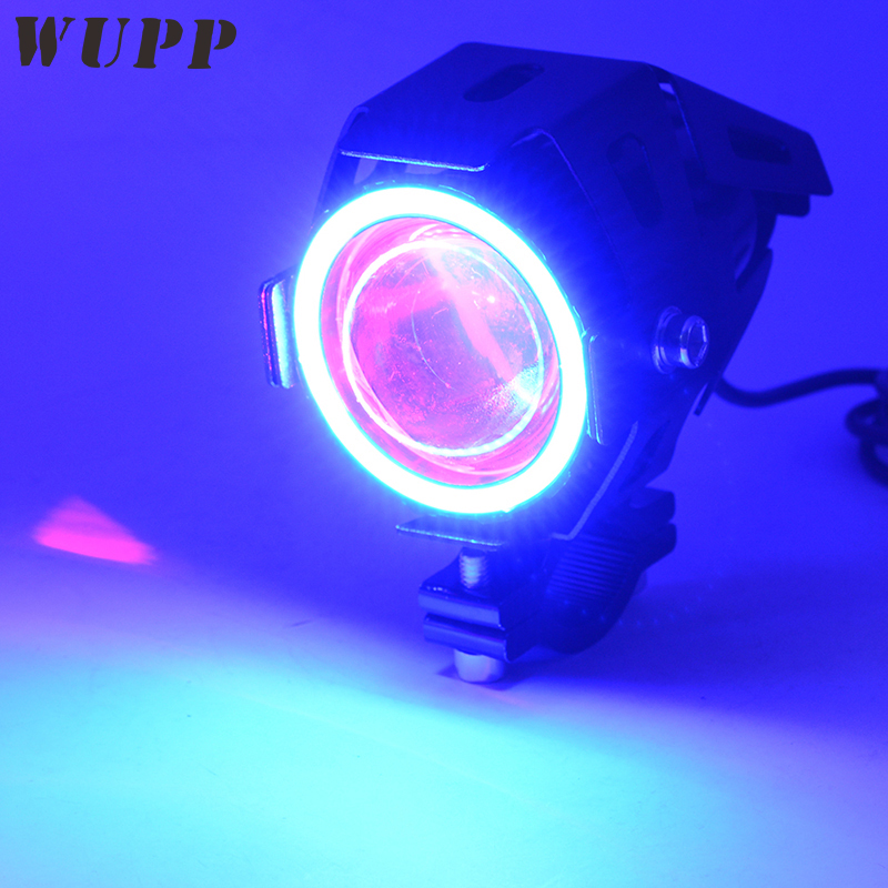 WUPP Motorcycle Headlamps Led U7 Transformers External Spotlights 12V 3000Lmw 15W Led Headlights With Blue Angel Eye