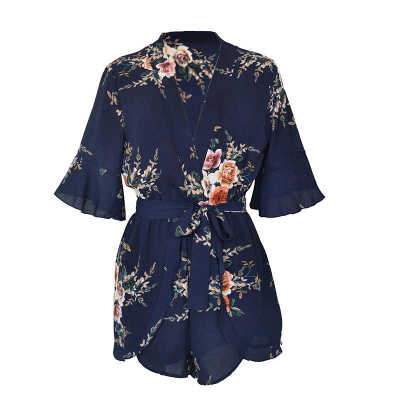 Летний женский комбинезон с v-образным вырезом, цветочным принтом, оборками, Комбинезоны для девушек, пляжные шорты, комбинезоны-OPK