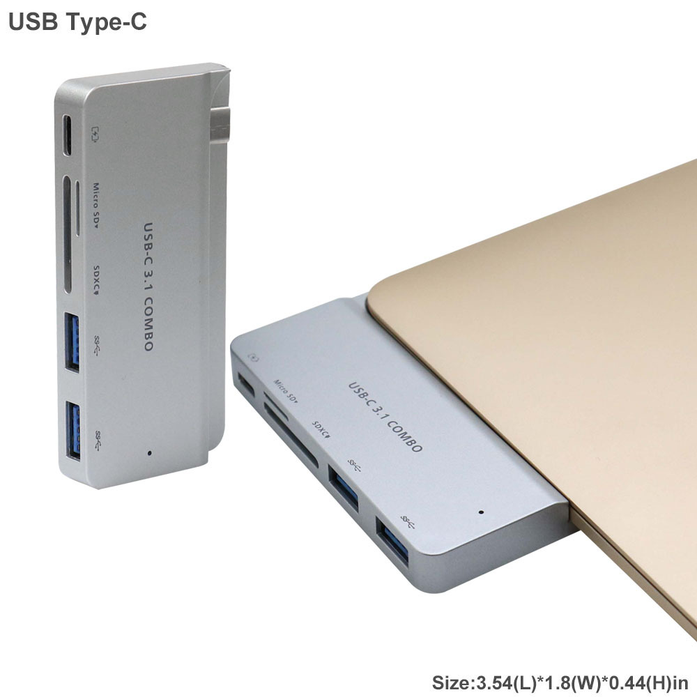 For MacBook 12 inch High speed Type C to 2*USB-C 3.1 +SD/TF Card Reader +Charger 5 in 1 HUB