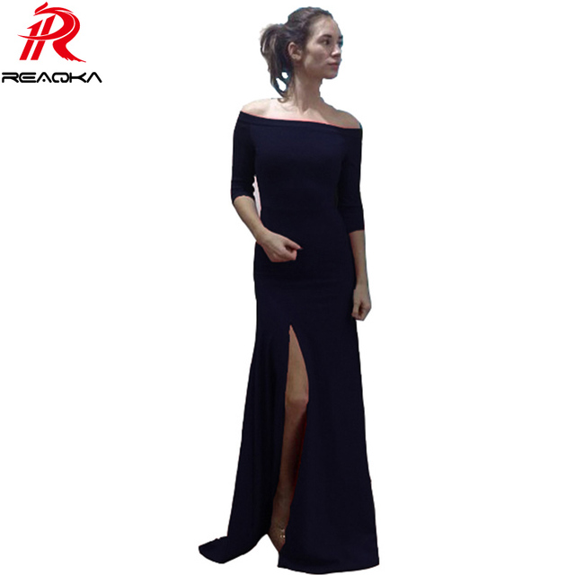 2016 Summer Vintage Europe US Floor Length Split Dress For Women sexy Black Red Blue Slash neck Women Fashion Clothing Dresses