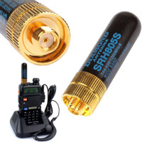 uv 5re uv 5ra 5pcs / LOT Dual Band UHF + VHF SRH805S SMA נקבה אנטנה עבור Baofeng UV-5R BF-888s UV-82 UV-5RA UV-5re TK3107 2107 10W 144 / 430MHz # 8 (2)