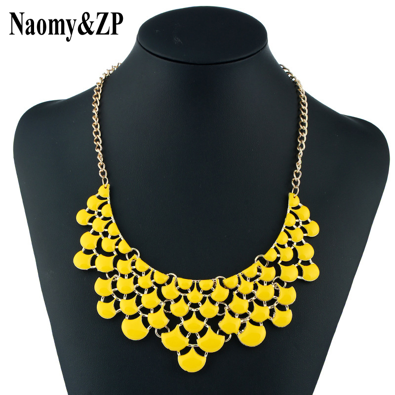 Naomi & ZP ապրանքանիշի նորաձևության Choker վզնոց կանանց համար դեղին վզնոց Կանացի մեծածախ Maxi հայտարարություն Boho Bohemian Fashion մանյակ
