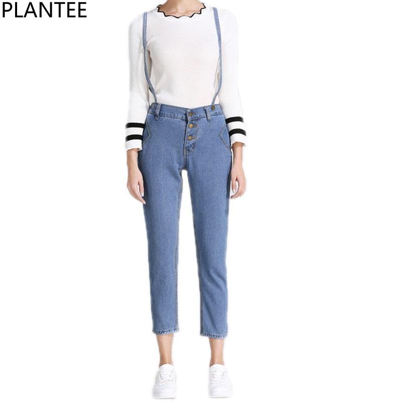 PLAMTEE Single Breasted Denim Pants Women Casual Solid Overalls Slim Elastic Waist Jumpsuits Autumn Winter 2017 Denim Trousers