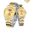 2016 EYKI gold watches men top brand luxury full stainless steel women and men quartz-watch calendar montre homme hour clock