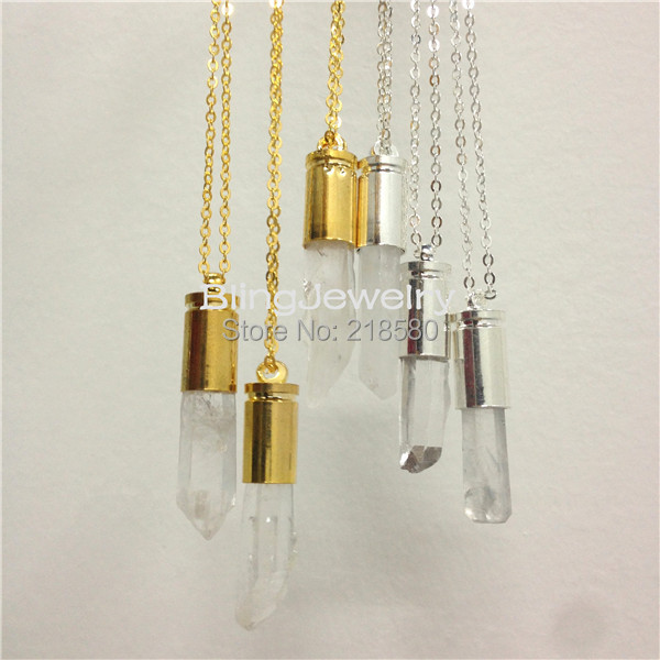 Aliexpress Com Buy 1440pcs Gold Bottom Crystal Clear: SN 001 Healing Crystal Point Necklace,Raw Clear Quartz