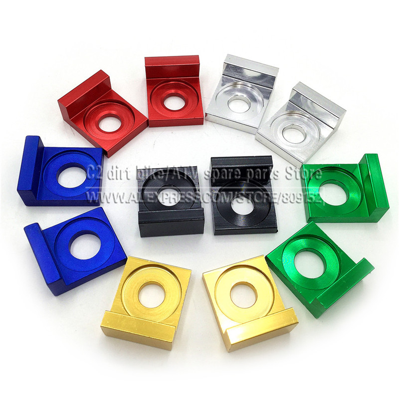 PITBIKE CHAIN TENSIONER ADJUSTER BLOCK CRF50 STYLE 15MM SPINDLE HOLE BLUE