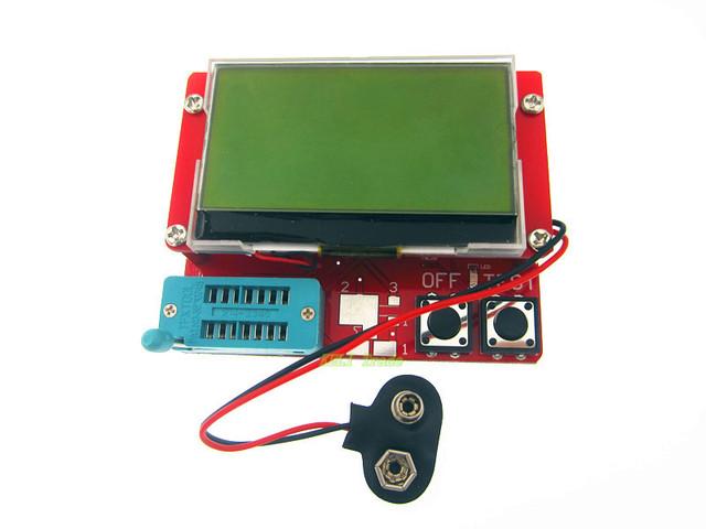 Frete Grátis Pequeno 12864 LCD Transistor Tester Diode Triode Capacitância ESR Medidor MOS NPN LCR
