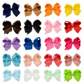 2017 Hot 20pcs/lot 5.5 Inch Grosgrain Ribbon Boutique Large Solid Bows With Clip For Baby Hairpins Kids Girl Hair Accessories