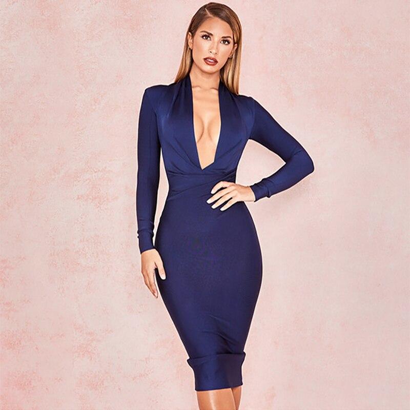 Long Sleeve Deep V Neck Sexy Women High Quality Bandage Fabric Bodycon Dress Loyal Blue Knee Length Dress XL Cheap