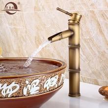 Европейская антикварная умывальная раковина бассейна кран ретро, бамбуковый стиль раковина с одним отверстием кран Винтаж, латунный водопроводный кран горячей и холодной