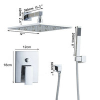 53306 Wholesale And Retail NEW Chrome Brass Water Pressure Boosting Bathroom Rainfall 8 Shower Mixer Tub