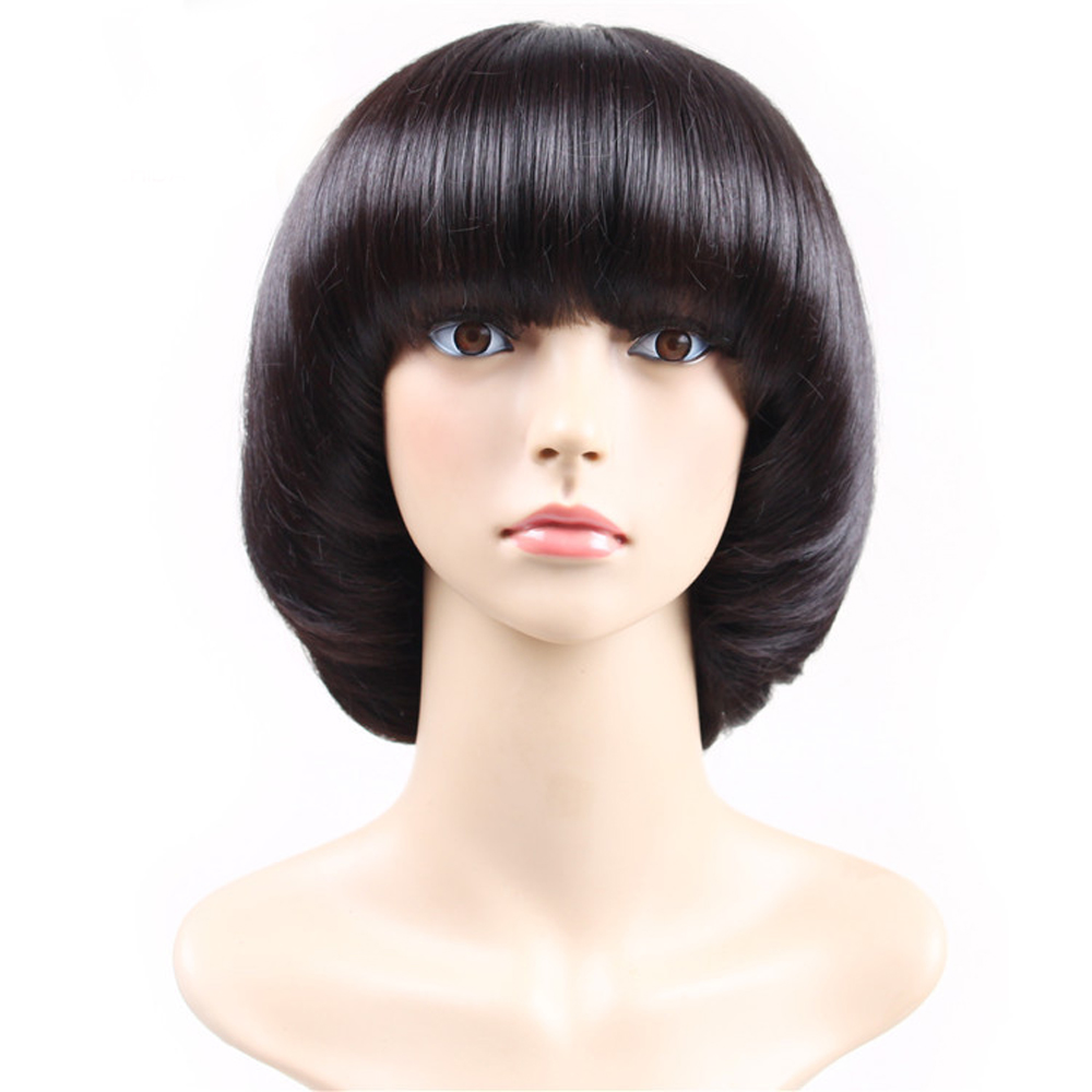 Fashion Womenlady Brilliant Black Mushroom Haircut With Neat Bangs