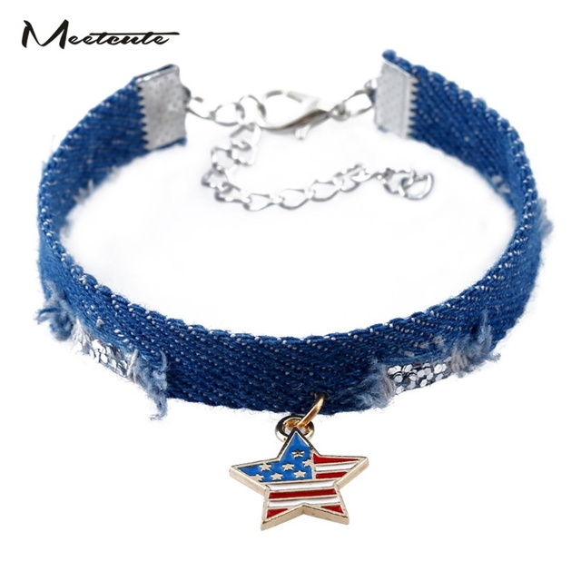 Meetcute New Fashion Denim American Flag Bracelets Bangles Diy Star Metal For Women Man