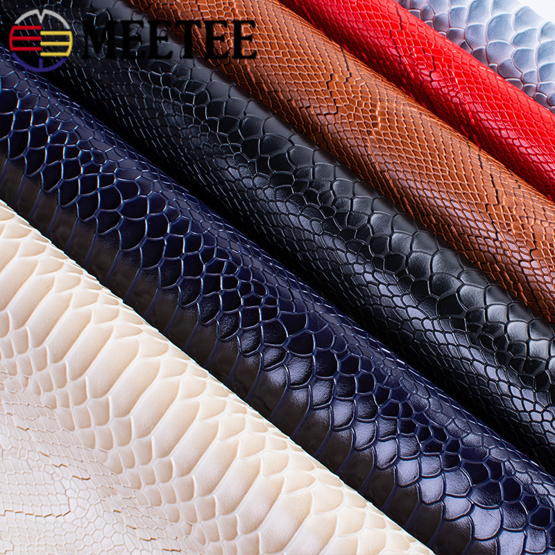 Meetee 45x137cm 1.2mm Thick Leather Fabric Artificial Synthetic Snake Leather PVC Material For Luggage Wallet Belt DIY Accessory