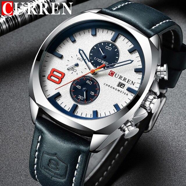 CURREN reloj deportivo para hombre, resistente al agua, con cronógrafo, militar, de cuero, 8324