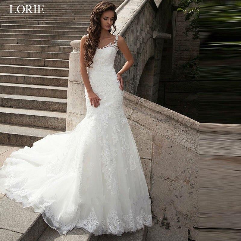 b3aee443462 LORIE élégante dentelle Appliques sirène robes de mariée Sexy dos nu robes  de mariée blanc ivoire