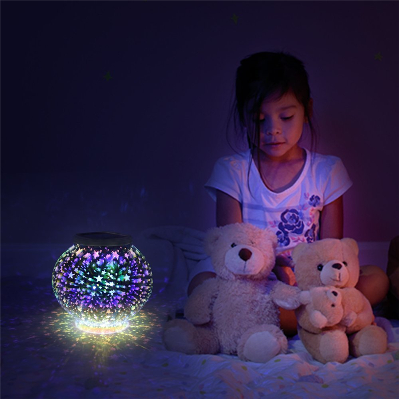 cristal mosaico lampada estrelas luz solar a 03