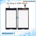 Black White For Sony Xperia C S39h C2304 C2305 Touch Screen Digitizer Glass panel With Flex Cable 1 Piece free shipping