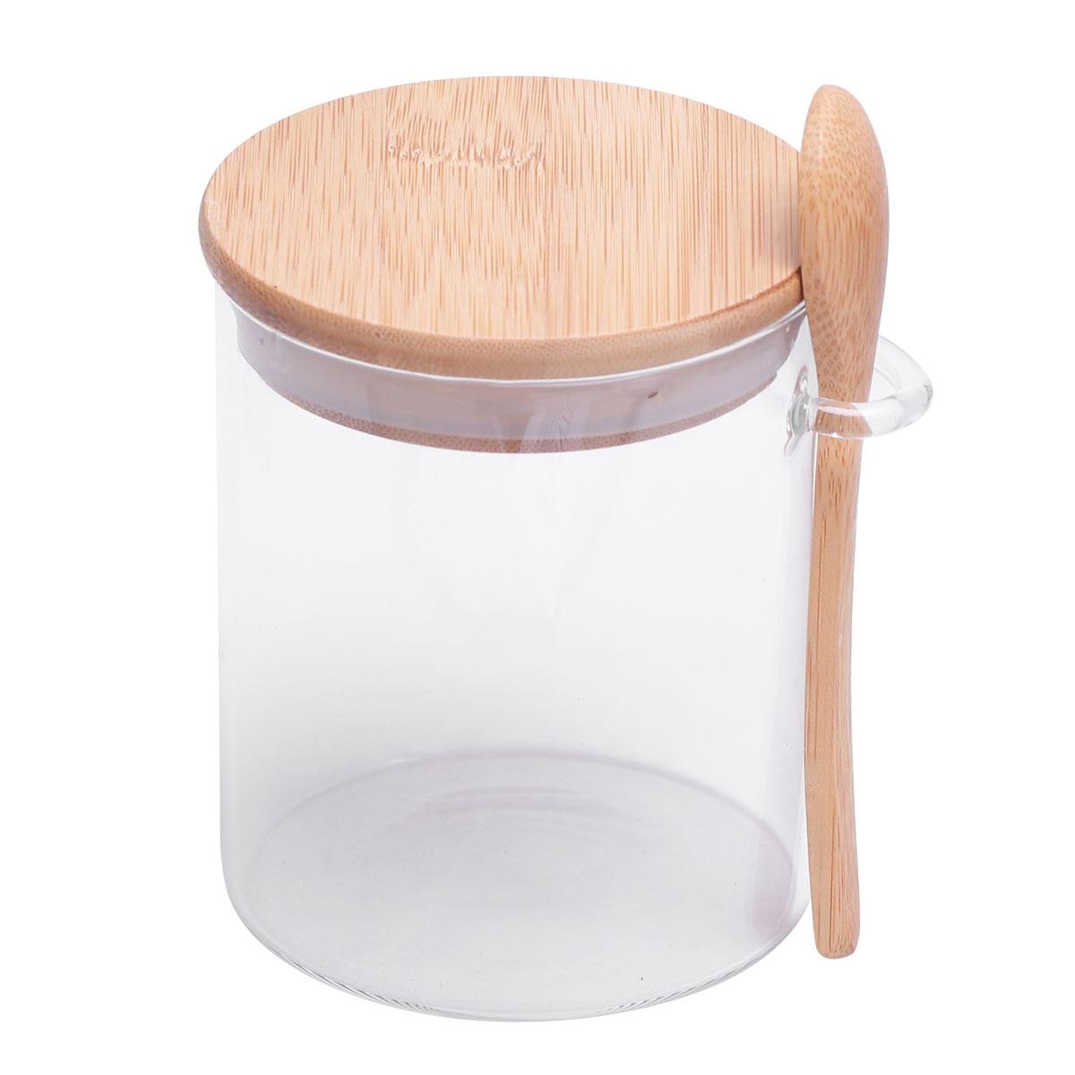 1 шт. стеклянная банка, прозрачный контейнер для хранения пищевых продуктов с крышкой и ложкой для сахара, соли, кофе, бобов, свободного чая