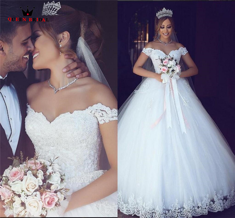 Custom Made A line Floor Length Lace Tulle Fluffy Elegant Long Formal Wedding Dresses Wedding Gown 2018 Vestidos De Novia WS48